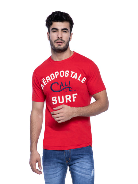 Aeropostale Men Red Crew Neck T-Shirt