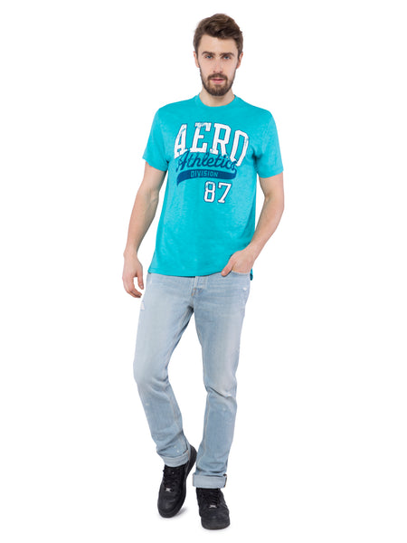 Aeropostale Men Blue Crew Neck T-Shirt
