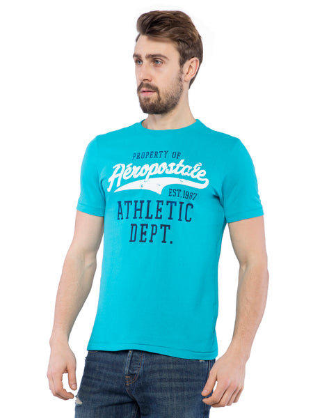 Aeropostale Men Sky Blue Crew Neck T-Shirt