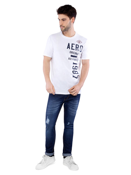 Aeropostale Men White Crew Neck T-Shirt