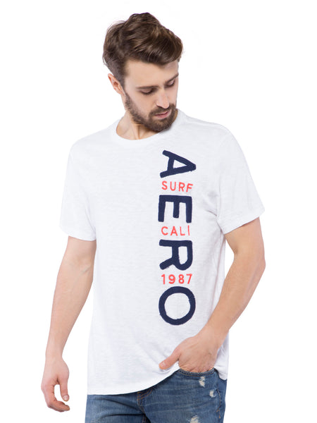 Aeropostale Men Embroidered White Crew Neck T-Shirt
