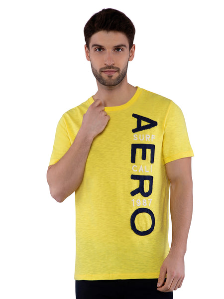 Aeropostale Men Yellow Crew Neck T-Shirt