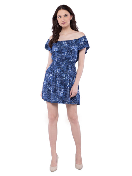 Hollister Women Floral Print Blue Dress