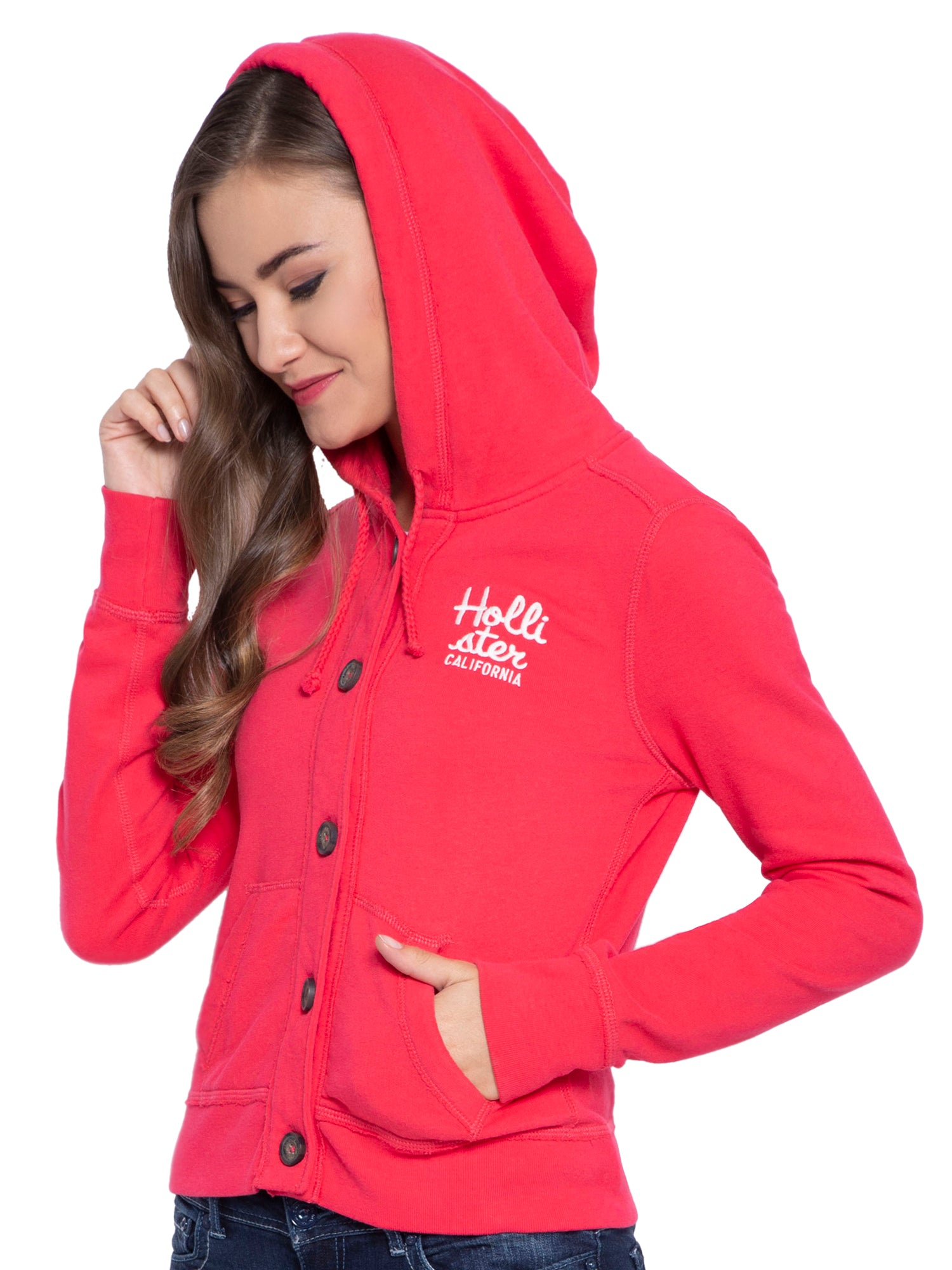 Hollister Women Red Hoodie