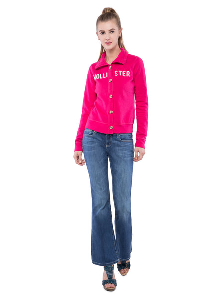 Hollister Women Pink Button Front Sweatshirt