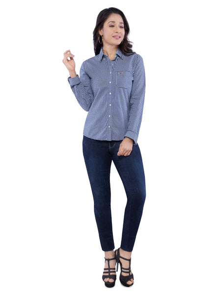 Hollister Women Blue Checkered Shirt