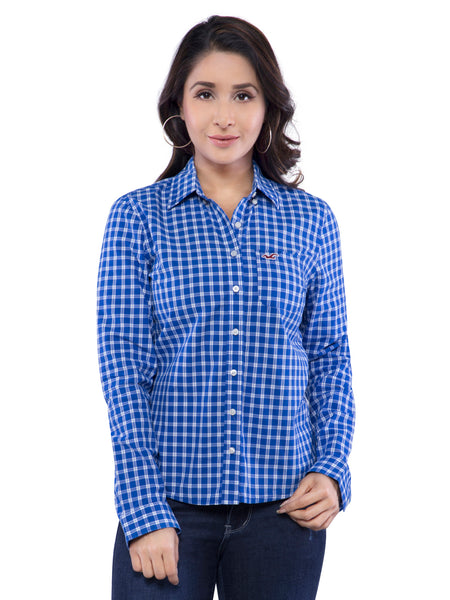 Hollister Women Dark Blue Checkered Shirt