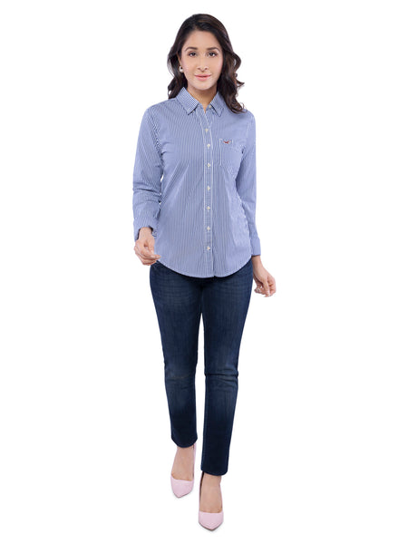 Hollister Women Stripe Pattern Blue Shirt