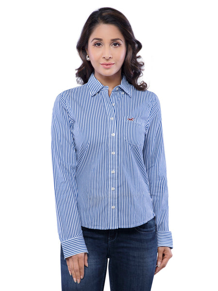 Hollister Women Blue Striped Shirt