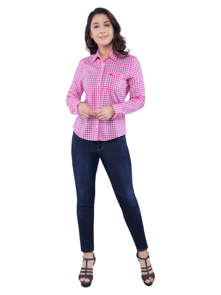 Hollister Women Pink Checkered Shirt
