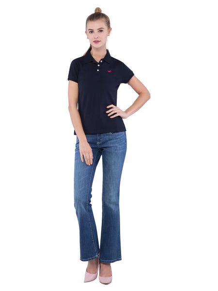 Hollister Women Black Solid Stretch Pique Polo