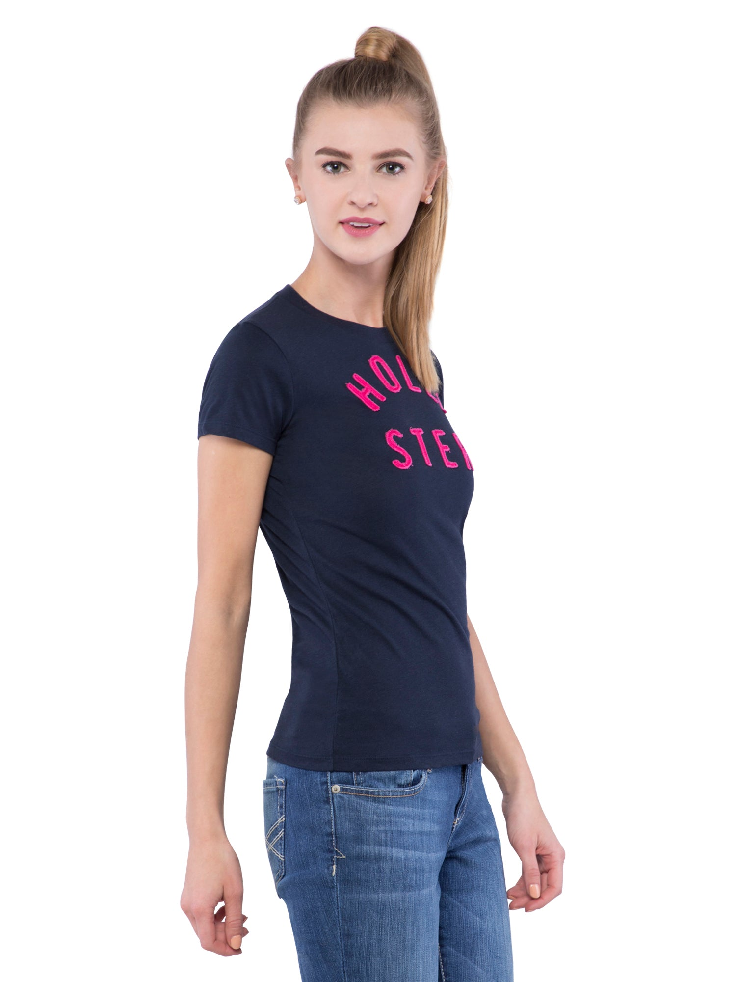 Hollister Women Black Crew Neck Top