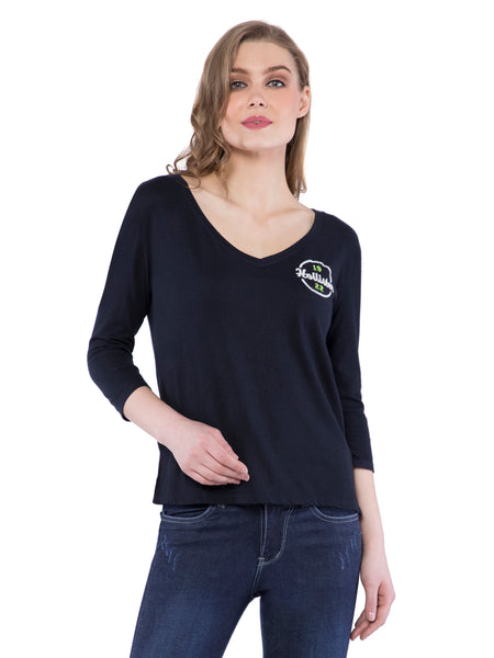 Hollister Women Black V-Neck Top