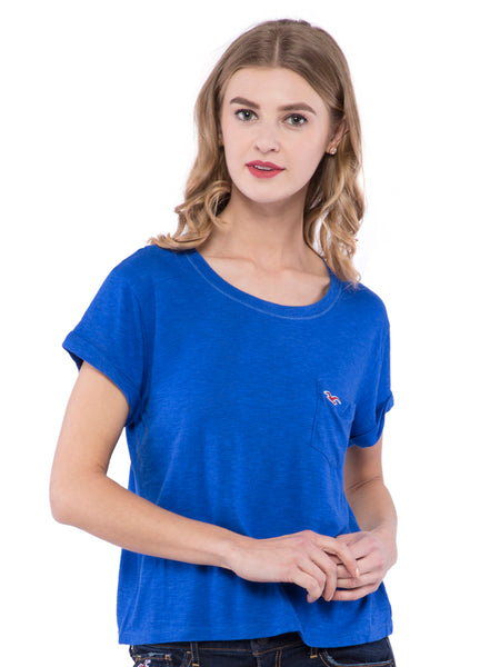 Hollister Women Blue Solid Round Neck Top