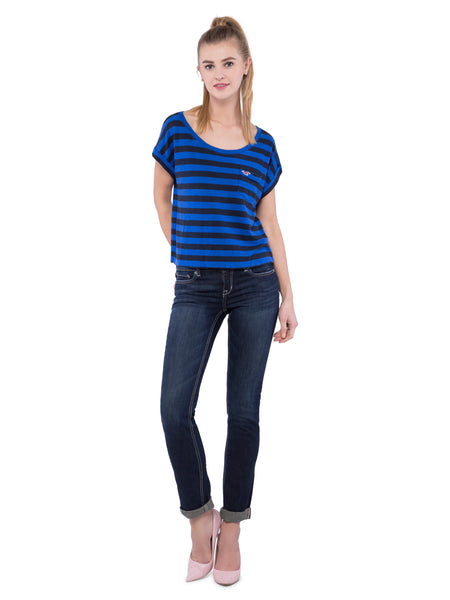 Hollister Women Blue Striped Scoop Neck Top