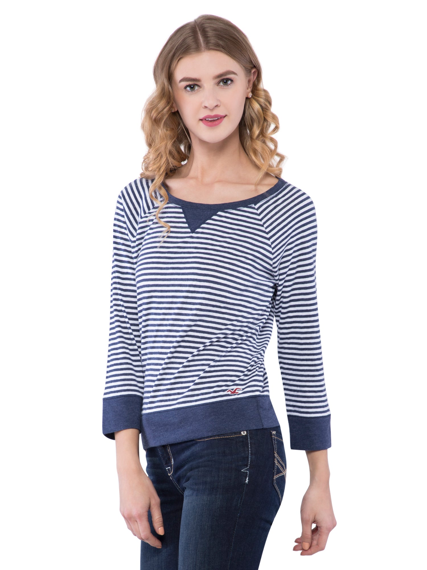 Hollister Women Midnight Blue Round Neck Top