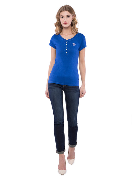 Hollister Women Blue Henley T-Shirt