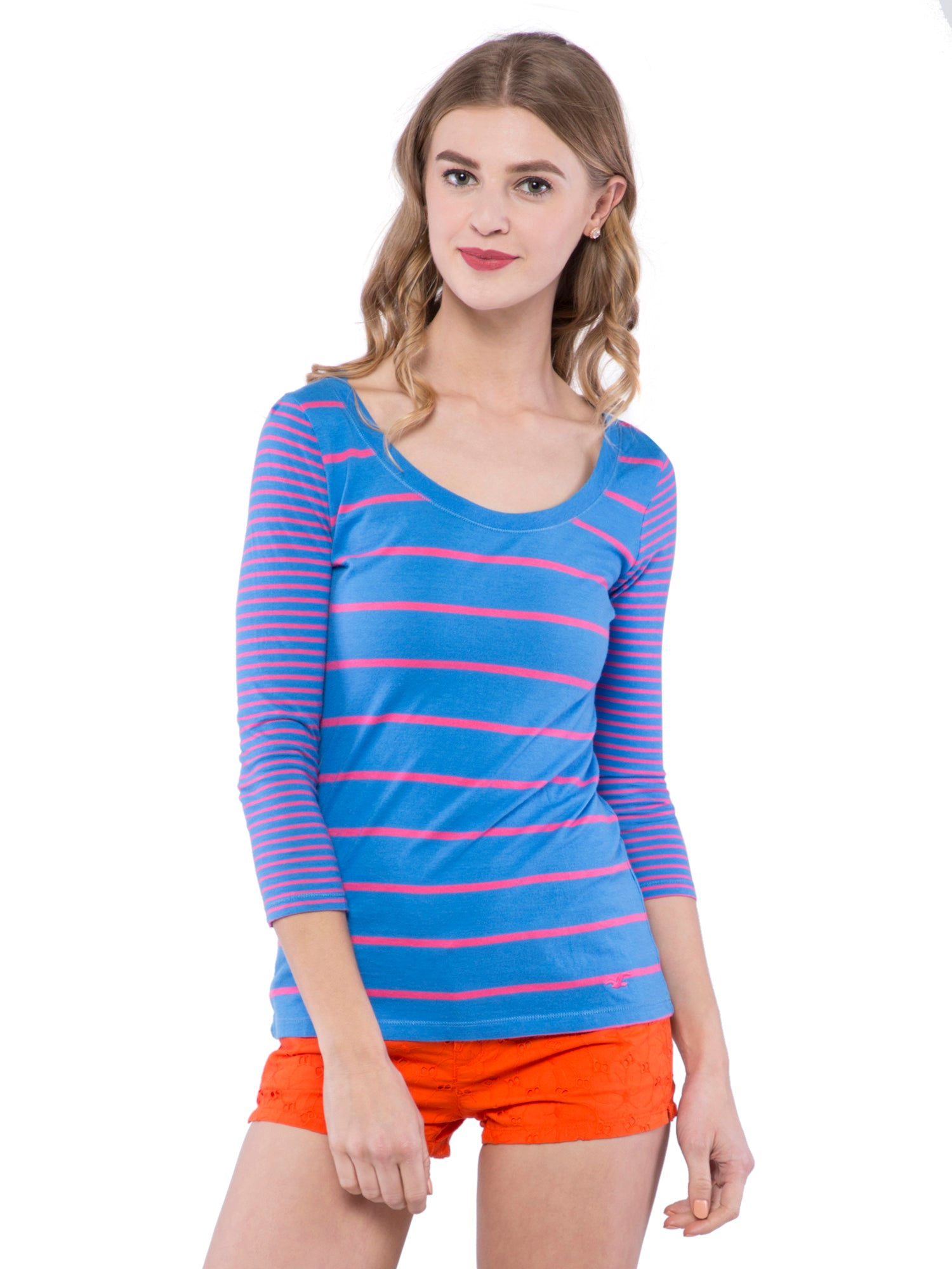 Hollister Women Blue Striped Round Neck Top