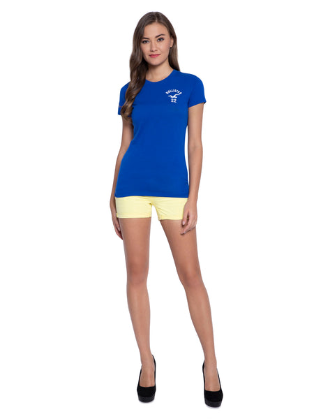 Hollister Women Blue Crew Neck Top