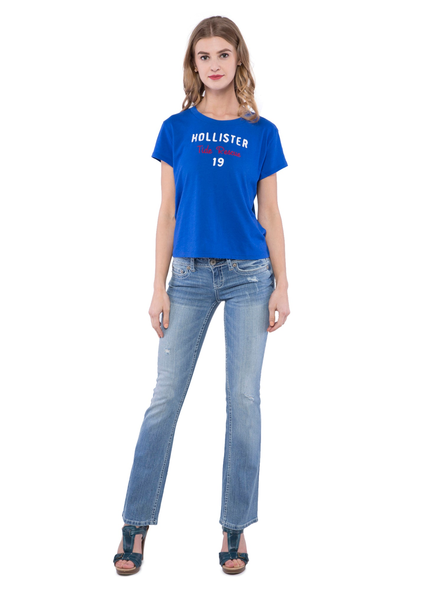 Hollister Women Blue Round Neck Top