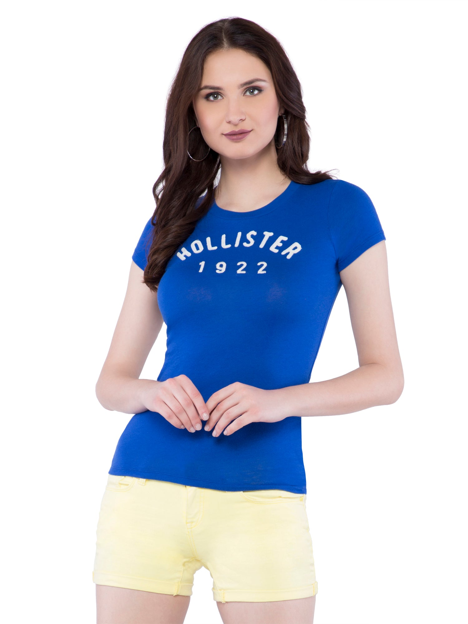Hollister Women Blue Crew Neck T-Shirt