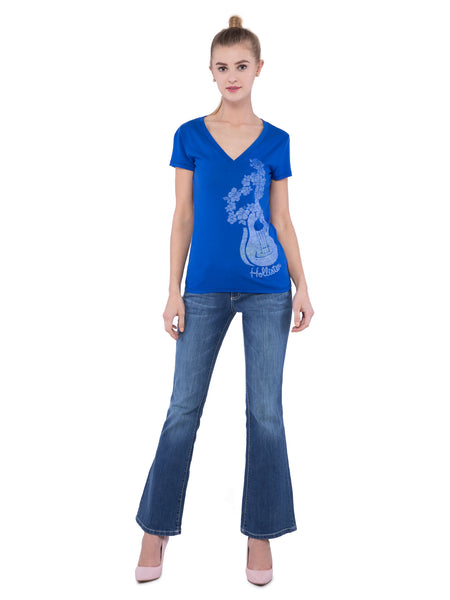 Hollister Women Blue V-Neck T-Shirt