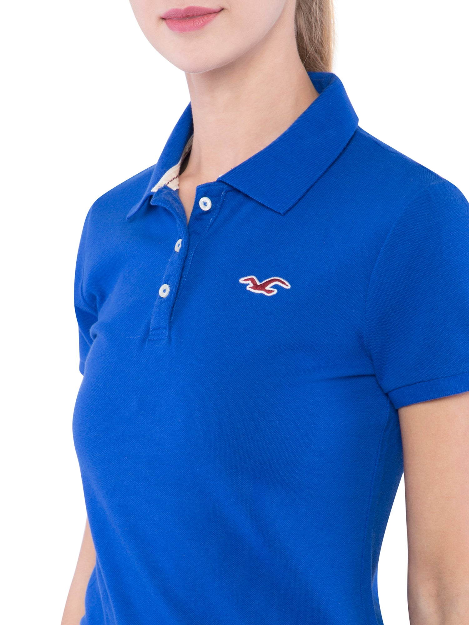 Hollister Women Blue Solid Stretch Pique Polo