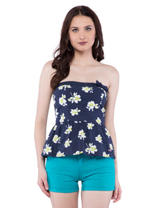 Hollister Women Dark Blue Floral Off Shoulder Dress