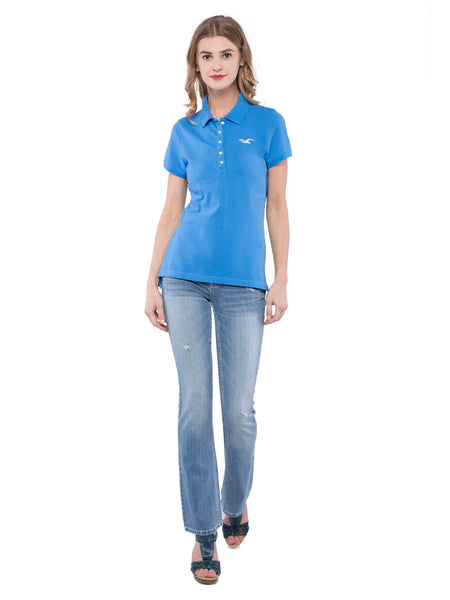 Hollister Women Blue Stretch Pique Polo