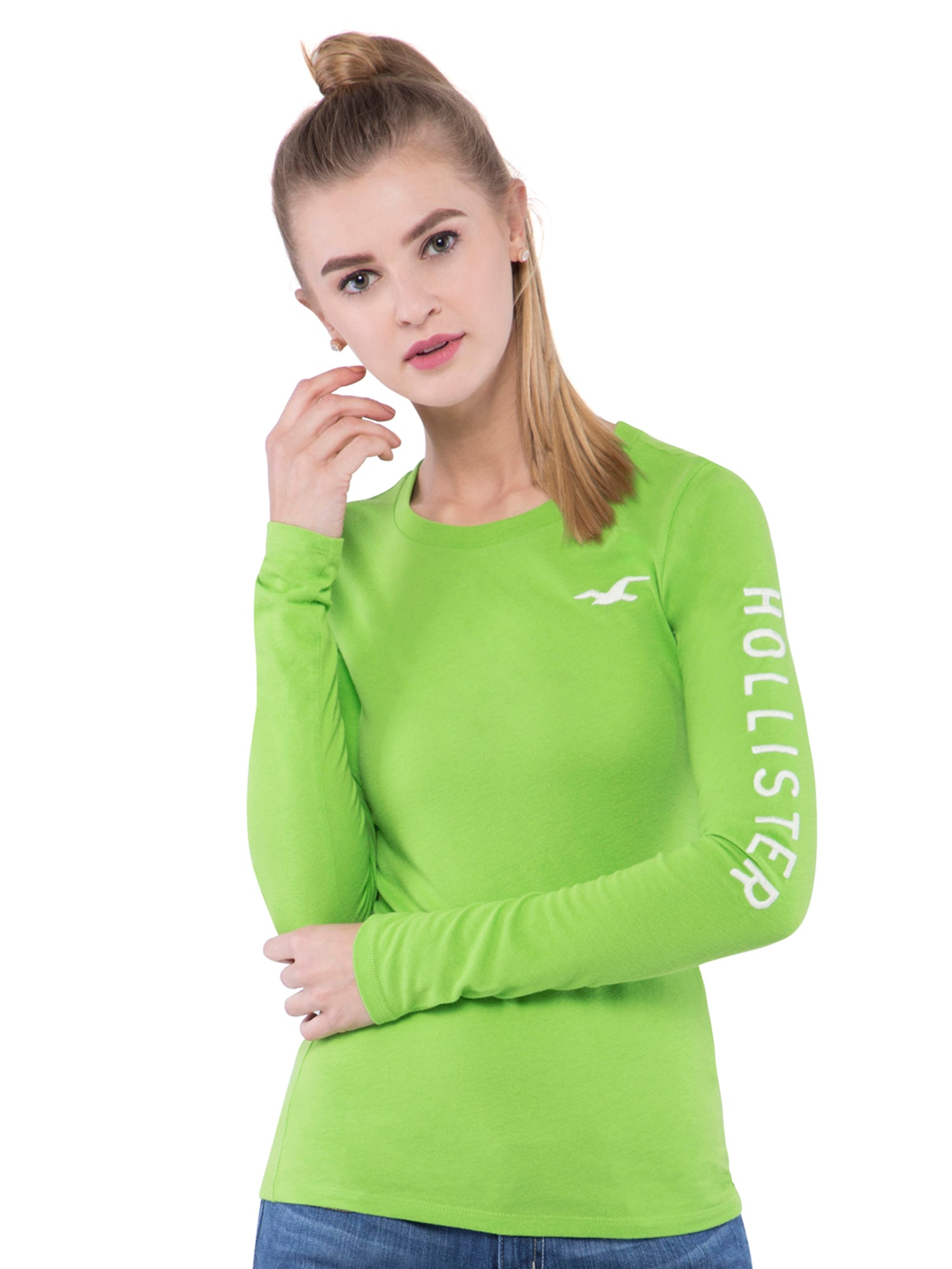 Hollister Women Green Crew  Neck T-Shirt