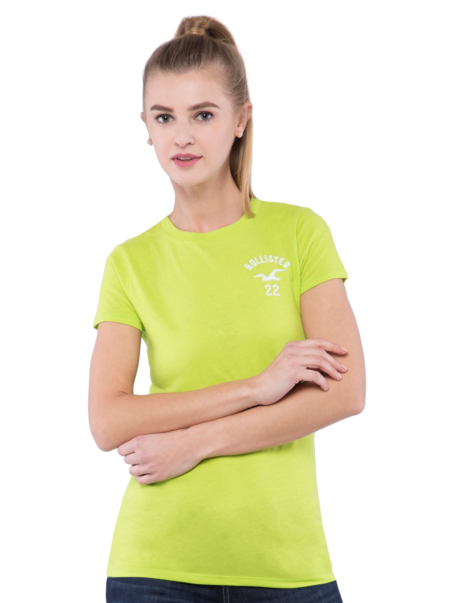 Hollister Women Green Round Neck T-Shirt