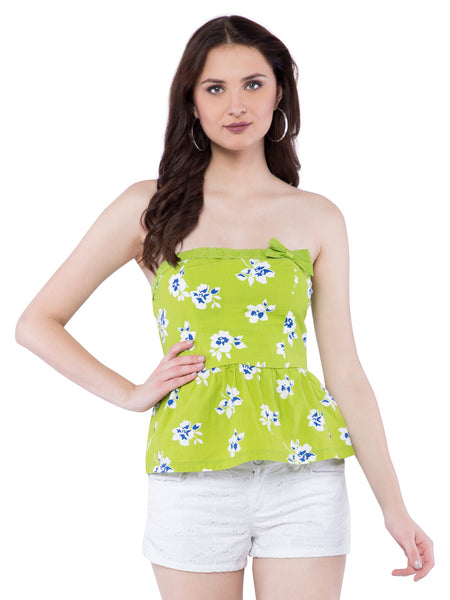 Hollister Women Green Floral Dress
