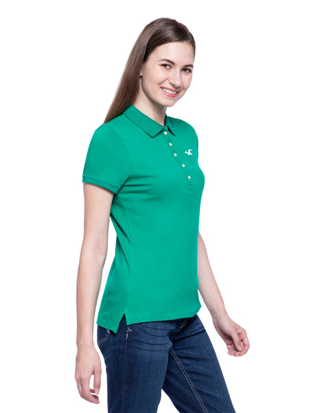 Hollister Women Green Stretch Pique Polo