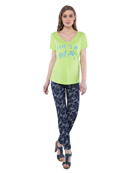 Hollister Women Green V-Neck Printed Top