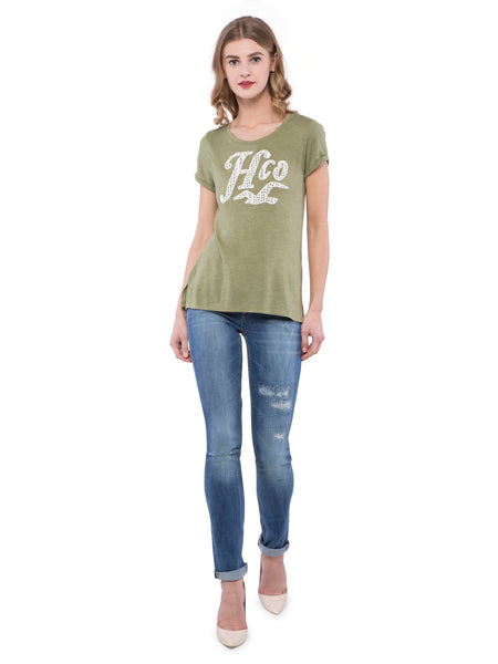 Hollister Women Dark Green Round Neck Top