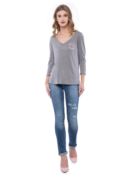 Hollister Women Grey V-Neck Top