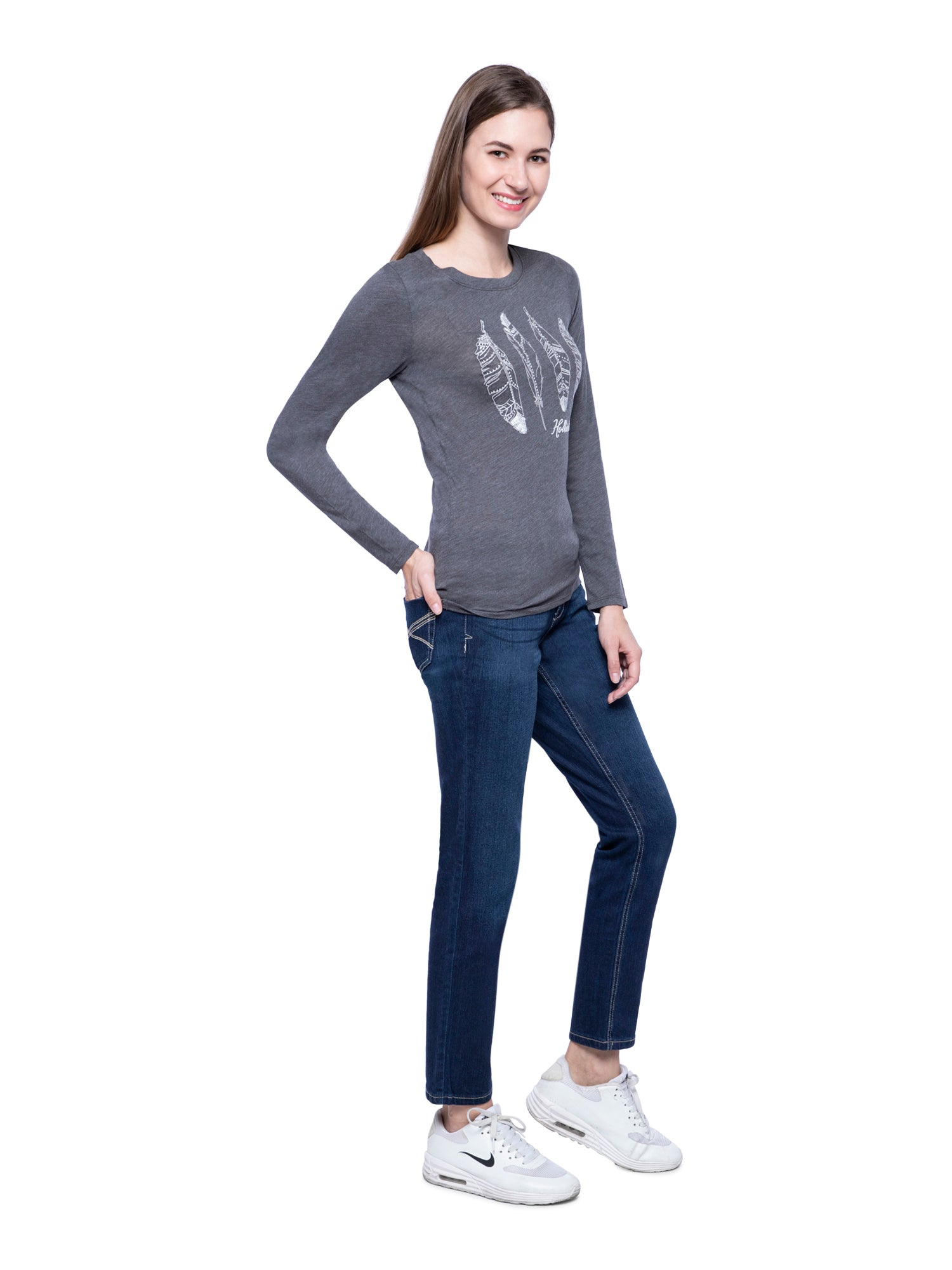 Hollister Women Grey Round Neck Top