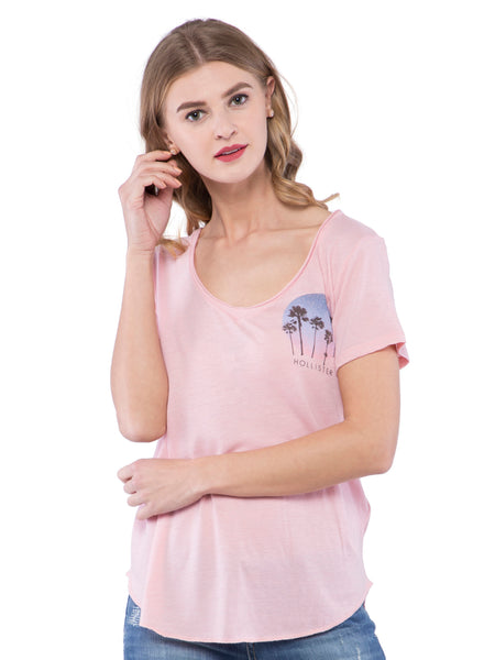 Hollister Women Light Pink Round Neck Top