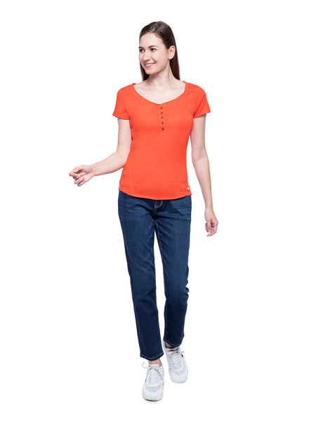 Hollister Women Orange Henley T-Shirt