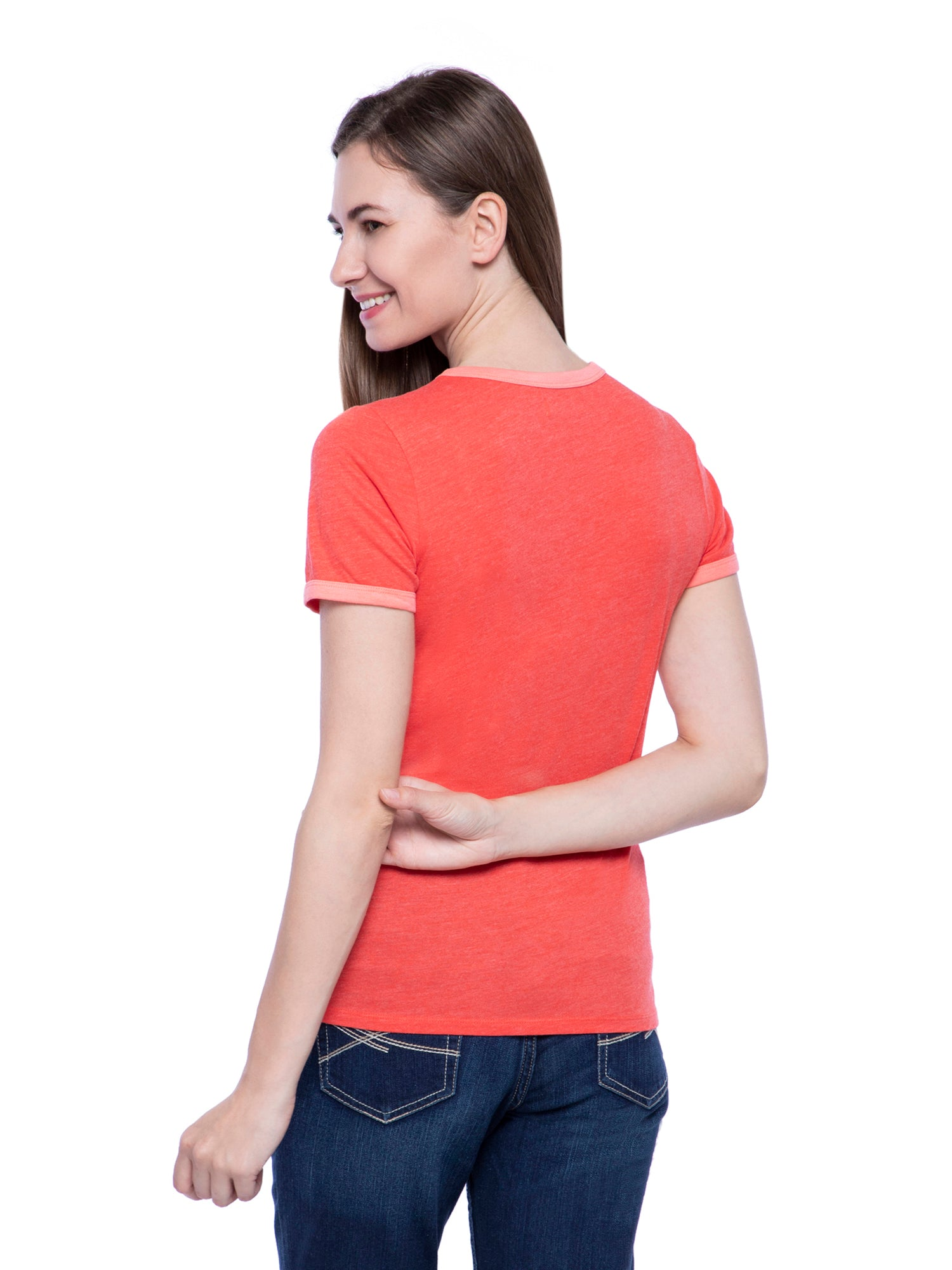 Hollister Women Orange Round Neck Top