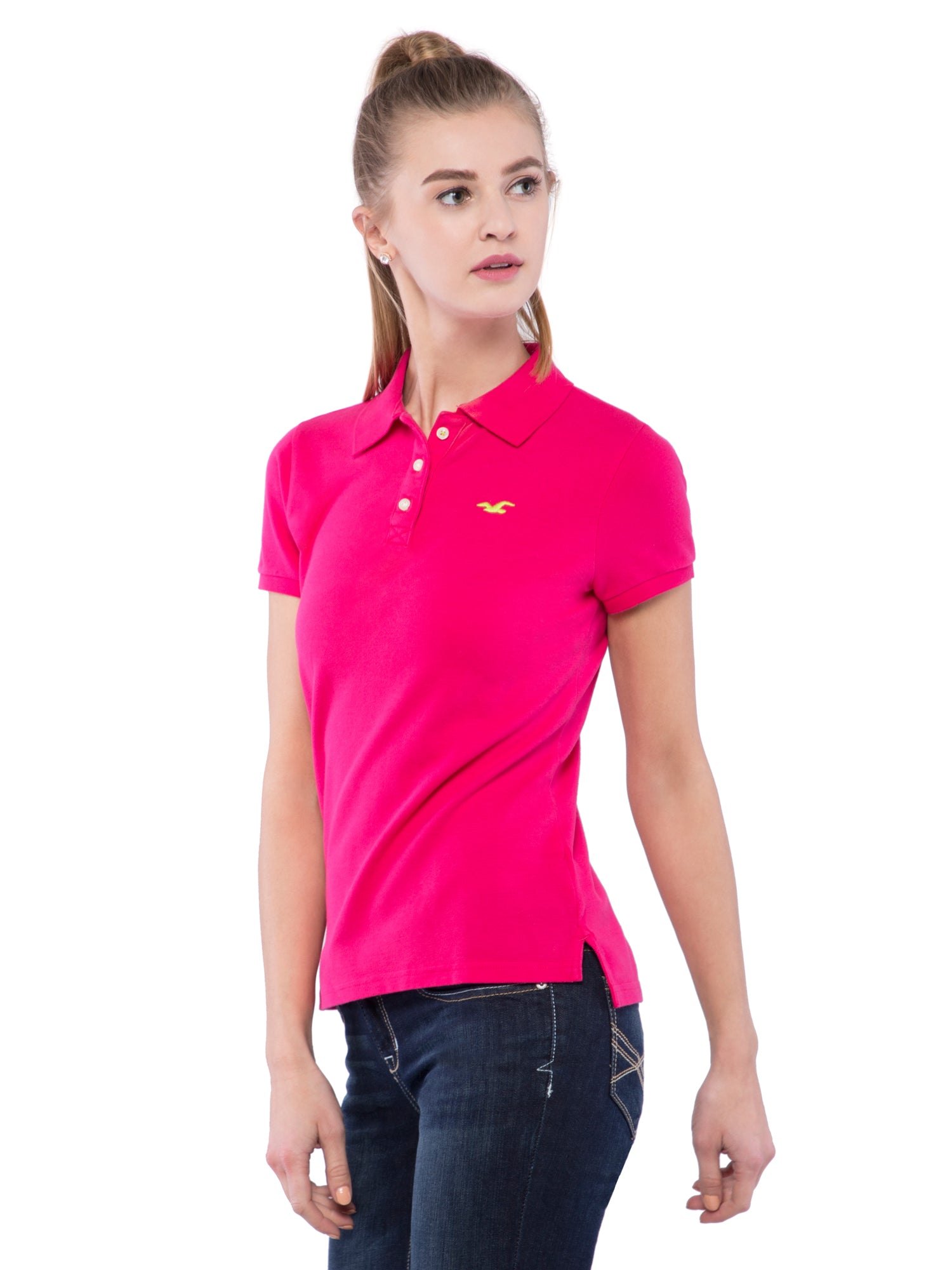 Hollister Women Pink Stretch Pique Polo