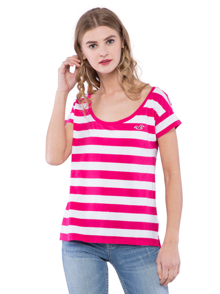 Hollister Women Pink Striped Scoop Neck Top