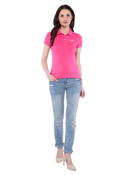 Hollister Women Pink Solid Stretch Pique Polo