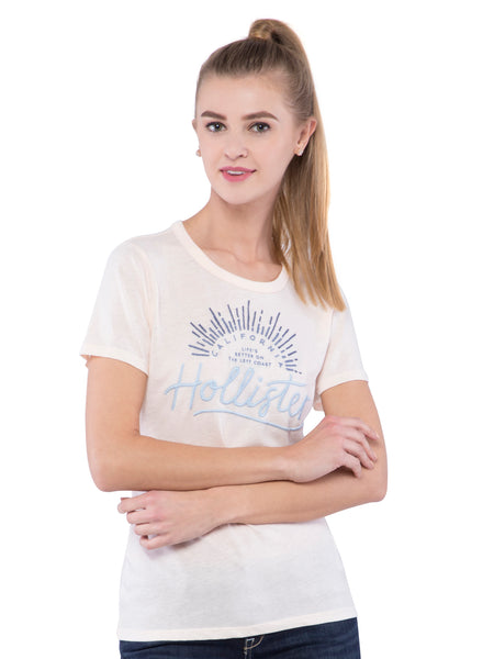 Hollister Women Peach Round Neck Top
