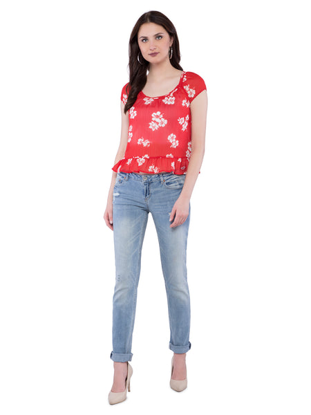 Hollister Women Red Floral Scoop Neck Top
