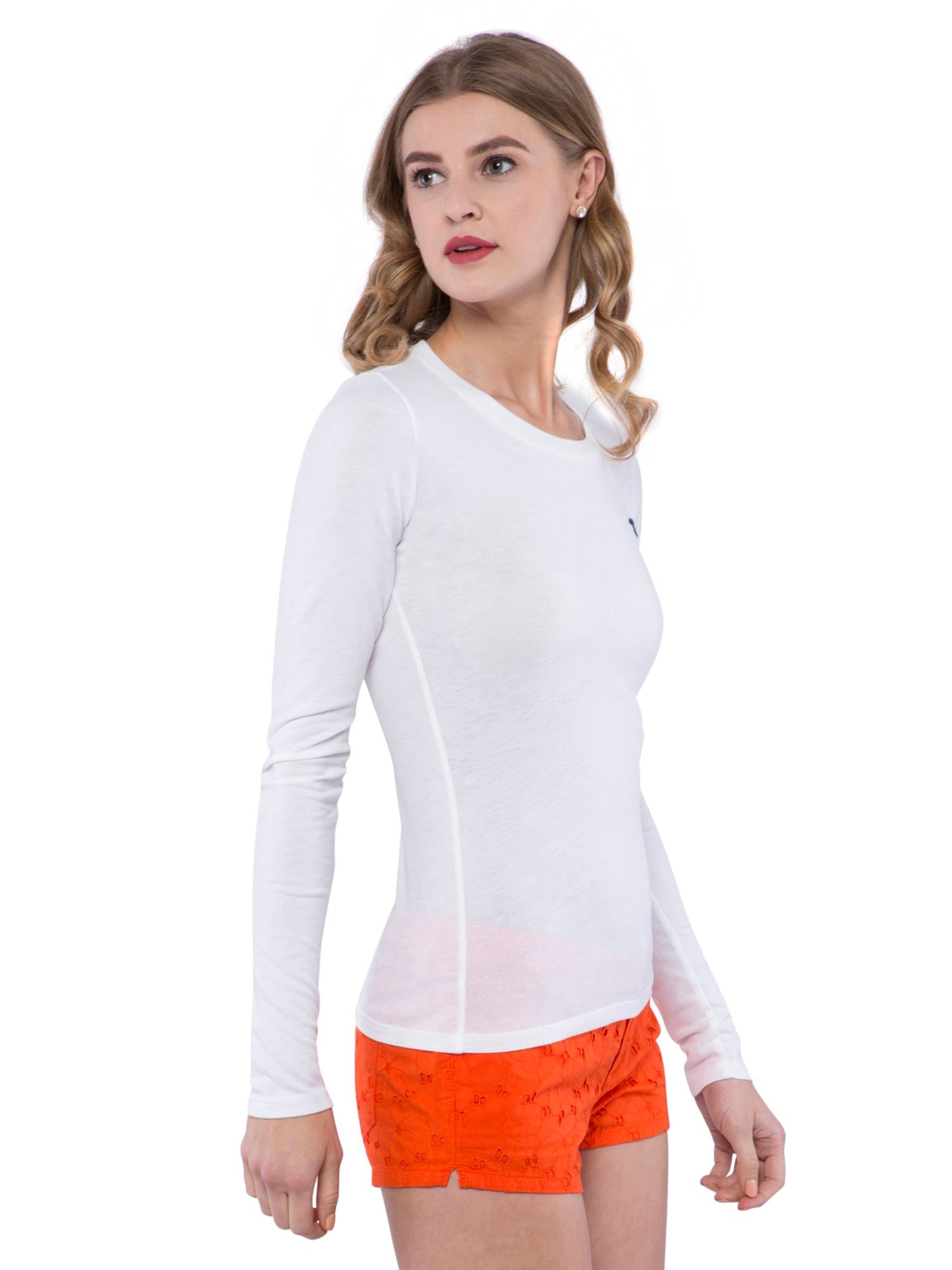 Hollister Women White Crew Neck T-Shirt