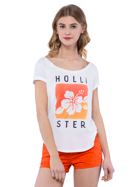 Hollister Women White Boat Neck Top