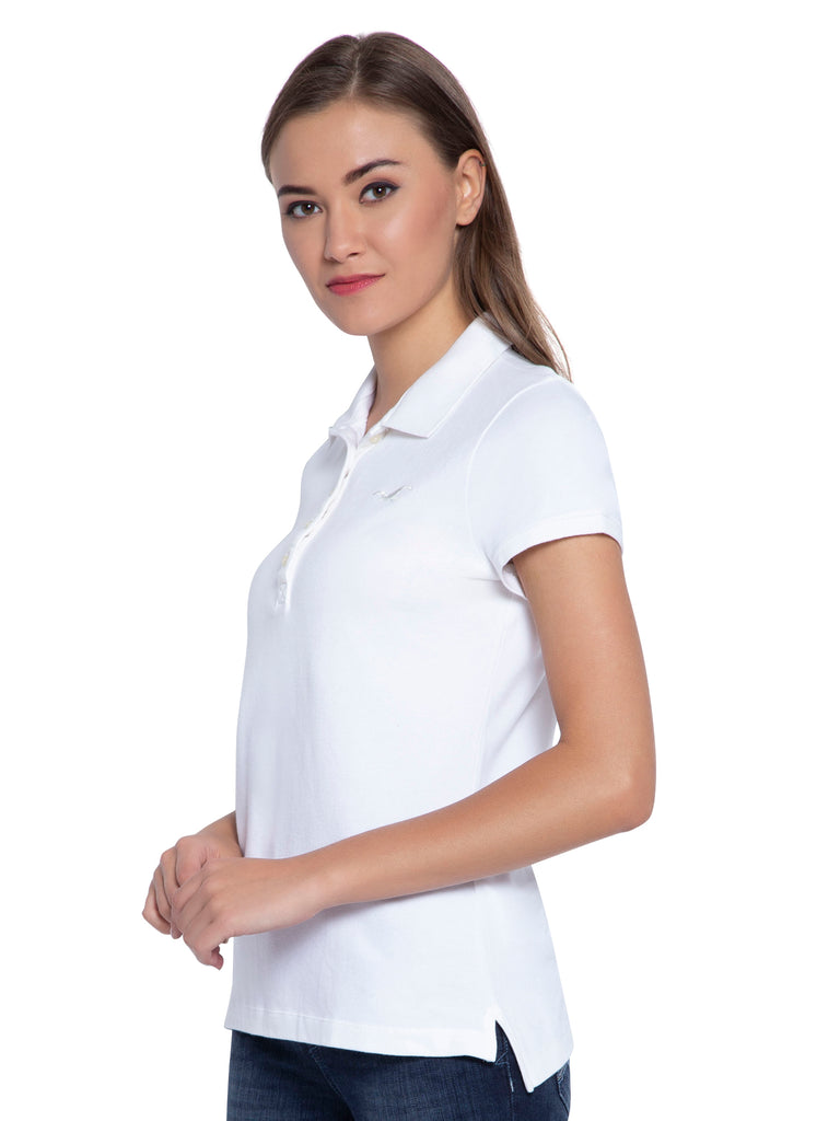 Hollister Women White Stretch Pique Polo