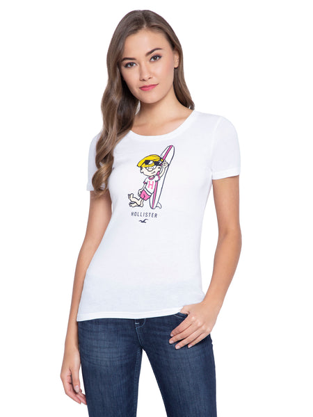Hollister Women Printed White T-Shirt