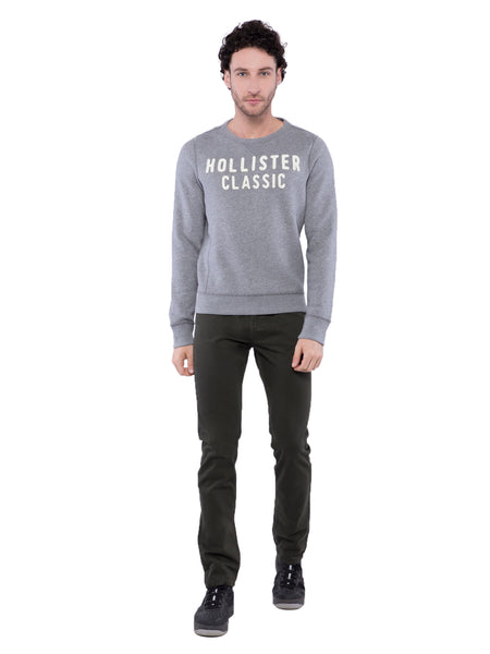 Hollister Men Grey Crew Neck Sweatshirt
